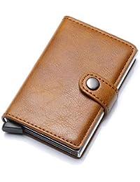 WeoHau Billetera Aluminio Seguridad RFID Tarjeta Bolso Hombres Cartera Retro Corta PU Elegante Mini Monedero