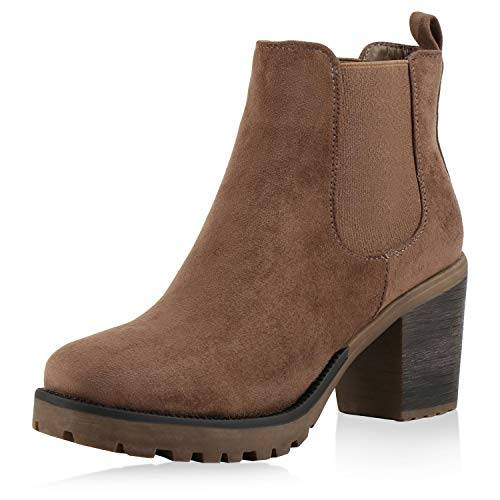 Stiefelparadies Damen Stiefeletten Chelsea Boots High Heel Booties Plateau Wildleder-Optik Schuhe Profilsohle 145340 Khaki Agueda 39 Flandell