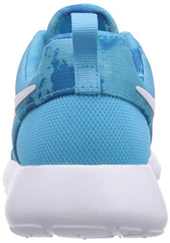 Nike Roshe Run Print, Chaussons Sneaker Femme Bleu (Clearwater/White-Dark Electric Blue)