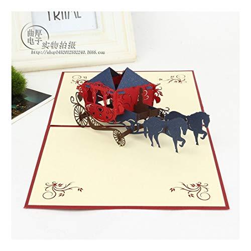 ZHOUBIN 2 fogli/set Carving And Hollowing Out 3D Cards/Greeting Cards/Regali di Natale Capodanno/Auguri di compleanno/Romantico Carrozzelle per matrimoni, Gules