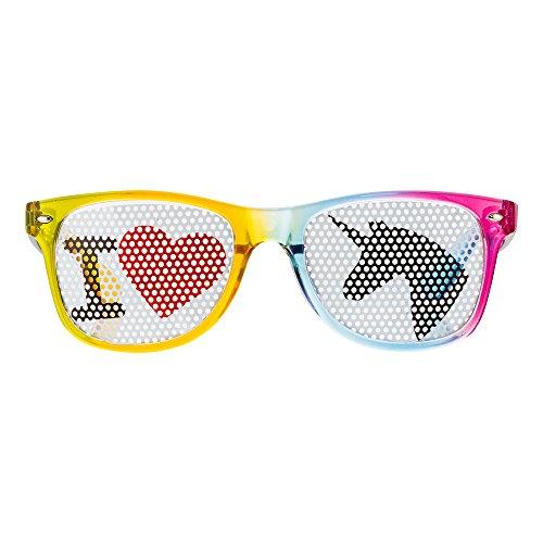 Preisvergleich Produktbild Einhornbrille I Love Einhorn Spaßbrille von seven9, Partybrille für den Ballermann oder jedes Einhornkostüm, Karnevalsbrille für Damen und Herren, Brille für das perfekte Festival oder Malle