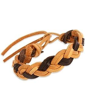 Teenie-Weenie Kinder Lederarmband geflochten braun Echtleder Armband LAC128BK