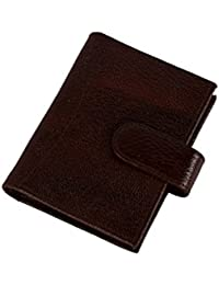 Genuine Soft Leather Credit Card Holder Wallet - 20 Clear Plastic Pockets - 4 Further Card Slots - Navy Blue Card...