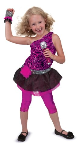 Melissa & Doug Rock Star (Ages 3 to 6) Role Play Costume Set (4 pcs) - Includes Zebra-Print Dress, Microphone