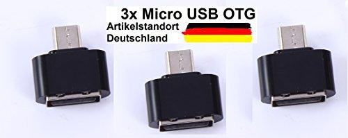 KAMS24 Micro USB (männlich) zu USB 2.0 (weiblich) schnelle Datenübertragung OTG Adapter für Android Smartphones/Tablets mit OTG Funktion 3er Set (3X Schwarz) (Weiblich Männlich Verwandeln Zu)