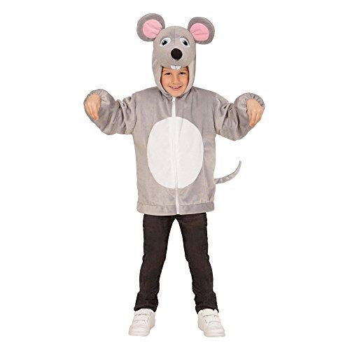 Widmann 97465 - Kinderkostüm Maus aus Plüsch, Jacke mit Kapuze und (Ratte Kostüm Ohren)