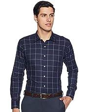 Amazon Brand - Symbol Men's Checkered Slim Fit Full Sleeve Cotton Formal Shirt