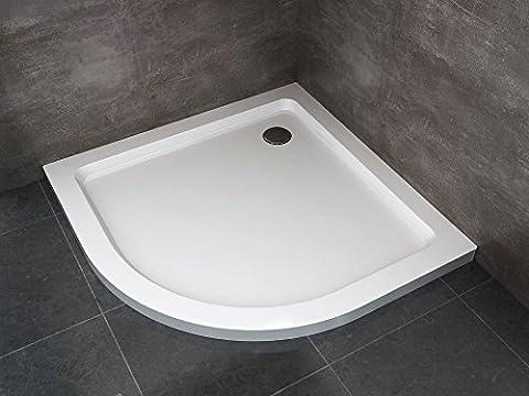 Receveur de douche ABS H 5cm slim flat box cabine douche bain courbé demi-rond 90x 90