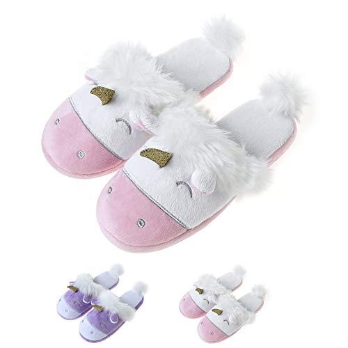 Summer Mae Einhorn Plüsch Hausschuhe Damen Tier Cartoon Comfy Nette Warme Leichte Startseite Pantoffeln Rosa EU37-38
