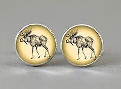 Moose Cufflinks,Nostalgic Art Moose Picture,Silver Jewelry Cufflinks,Shirt Cufflinks,Glass Cabochon Cufflinks,Men Cufflinks,Gift for Husband,Art Picture Cufflinks,Personalized Cufflinks