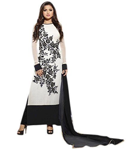 Kalashree-Fashion-White-Colored-Georgette-Embroidered-Semistitched-Suit