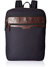 Hidesign Leather-Canvas Navy Blue and Brown Casual Backpack (Viking 02)