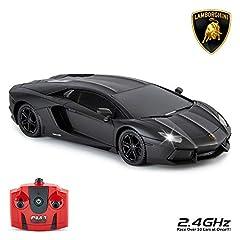 Idea Regalo - CMJ RC Cars Lamborghini Aventador, a Distanza/Radiocomandato Modello Auto. 1:24 Scala. in Nero Opaco / Bianco e Arancione - Nero Opaco, 1:24