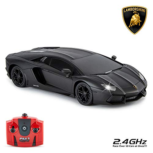 Lamborghini Aventador Offiziell Lizenziert Fernbedienung Auto für Kinder mit Funktionierendem Lichter,Ferngesteuert auf Straße RC 1:24 Modell 2 4 GHZ Mattschwarz Großartiges Spielsachen für Jungen und
