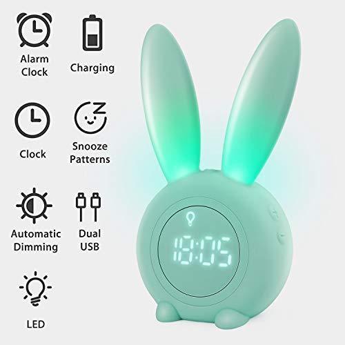 Homealexa Kinder Lichtwecker Cute Rabbit Wake Up Kinderwecker Creative Nachttischlampe Snooze-Funktion, zeitgesteuertes Nachtlicht, Kindertagesgeschenk für Kinder, Mädchen (Grün)