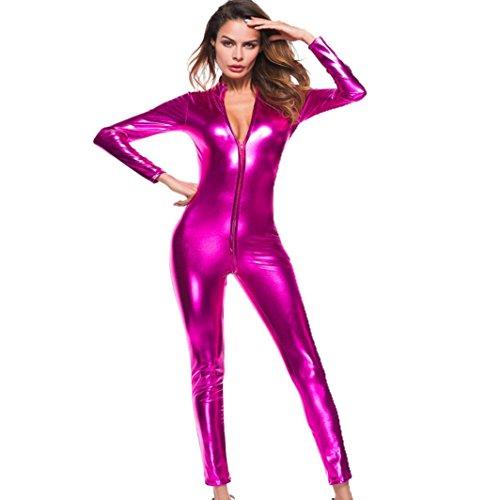 Catsuit Latex Mujer,BeautyTop Disfraz De Catwoman Lencería Sexy Con Cremallera Mujer Monos Babydoll Clubwear Ropa Interior De Cuero Del Separador (L, Rosa caliente)