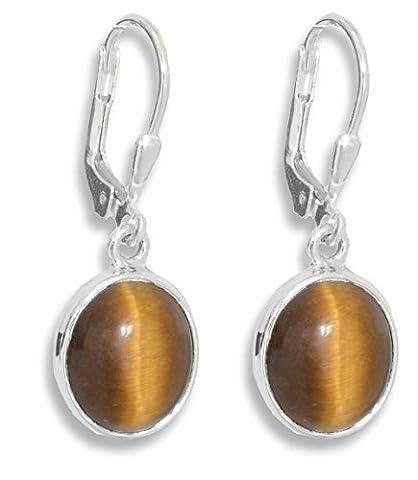 ERCE Tiger Eye Gemstone Earrings Oval, 925 Sterling Silver, Length 3 cm, in Gift Box