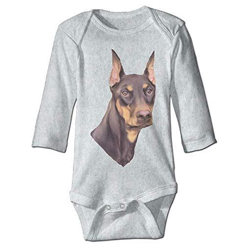 Unisex Newborn Bodysuits Doberman Pinscher Dog Boys Babysuit Long Sleeve Jumpsuit Sunsuit Outfit Ash