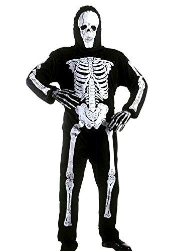 ♛ taglia 158 - 10 / 12 anni - costume travestimento carnevale e halloween da scheletro zombi mostro morte ossa colore nero bambino
