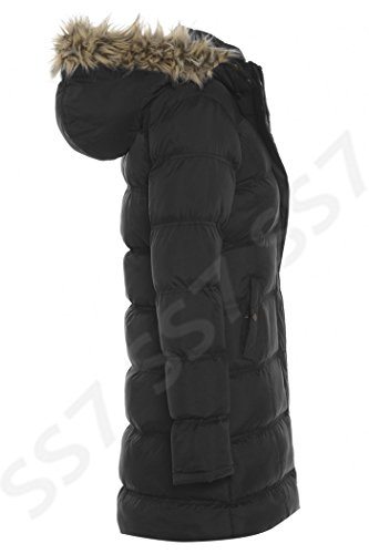 Damen Übergröße Gepolsterter Mantel, Größen, 18, 20, 22, 24 Schwarz
