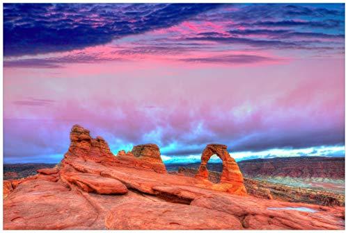Wallario Acrylglasbild Farbenfrohes Naturdenkmal - Steinbogen im Nationalpark Arches - 60 x 90 cm in Premium-Qualität: Brillante Farben, freischwebende Optik