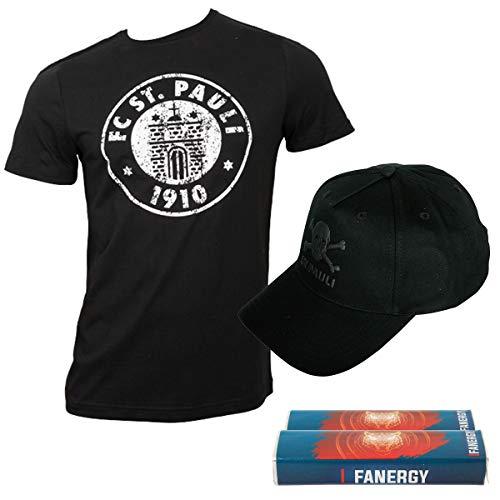 Fett-logo-t-shirt (FC St. Pauli T-Shirt Logo Schwarz/Weiß und Kappe Black Matte Totenkopf schwarz Set + 2X FANERGY Traubenzucker (S))