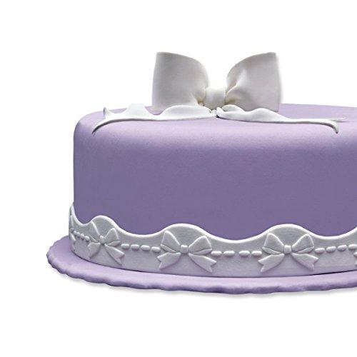 Cake Company Fondantrand   Fondant Bordüre in 2x 1,25 m & 3 cm hoch   1 Stück   Fondant Band in Weiß   Tortenband mit Wellenband Schleife  ...