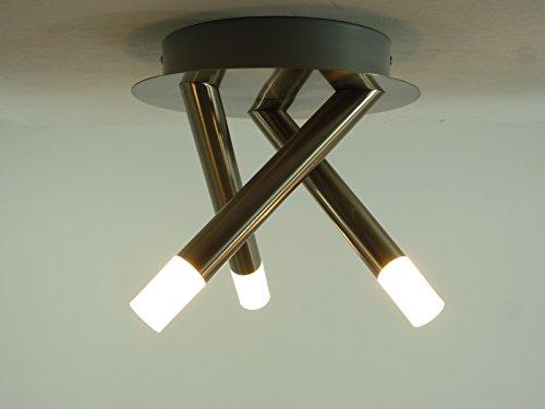 LED-Deckenleuchte Devin 3 flammig Nickel Deckenstrahler Leuchte Wandleuchte Deckenlampe LED 3x3W-720lm-2700K