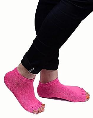 Prime Yoga Socks Non Slip Non Skid Pilates Barre with Grips For Toeless Finger Socks Women,10 Gram, Black, Pack Of 1 (10695)