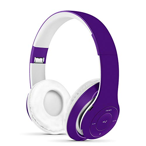 Funwaretech Cuffie wireless Bluetooth 5.0 Over Ear con microfono, audio stereo e bassi potenti, cuffie pieghevoli per iPhone, iPad, iPod, PC, smartphone Samsung e tablet (Viola)
