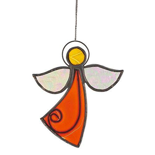 HAB & GUT -HA0G1- Windspiel Glas ORANGE, WEIß, GELB, Engel, 10 x 8,5 cm, Mobile für Fenster, Wand, Garten, Terrasse und Balkon -