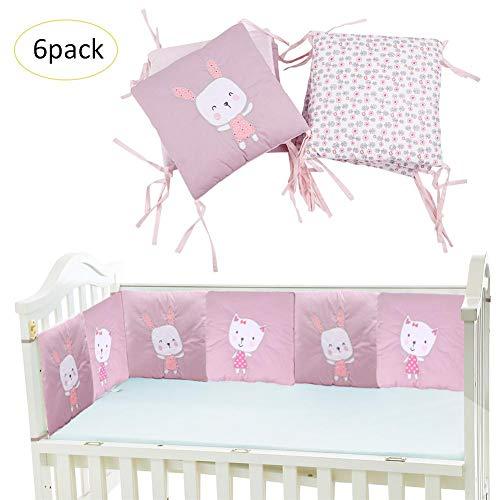 flyingx Rib Bettwäsche Atmungsaktiv Gepolstert, Crib Bumper Pad Baumwolle Baby Crib Padding Bumper Cradle Protector 6-TLG. Set Krippe Umfang Bestickt Baumwolle Cartoon Bett Baby Bett (Set Bett Krippe Für)