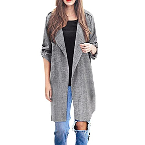 Mantel Xl Mit Damen Für Fell (Damen Mantel Jacken Winterjacke Wintermantel Parkajacke Lange Frauen Mantel Parka Jacke Vorne offen Outwear Steppjacke Oberbekleidung Trenchcoat Elecenty (Hellgrau, L))