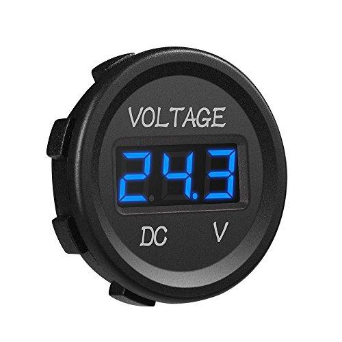 gzcrdz DC 12V LED Digital Display Voltmeter Wasserdicht für Boot Marine Fahrzeug Motorrad Truck ATV UTV Auto Camper Caravan Blau/Rot/Grün Digital rund Panel, blau (Display Marine)