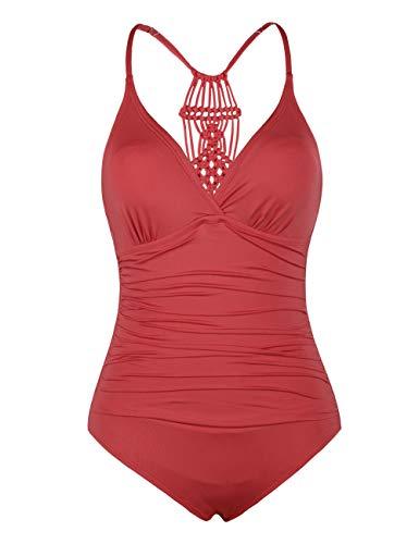 Hilor Damen Einteilige Badeanzug Falten Bademode Macramé Schwimmanzug Neckholder Monokinis Koralle Rot 46 - Damen Für Badeanzüge