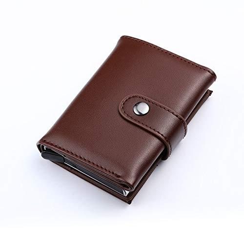 QIANHEDAMAI Echtes Leder Geldbörse Frid Anti-Theft Brush Card Wallet Männer Und Frauen Kreditkartenetui Pocket Box Business-Id-Kartenhalter -