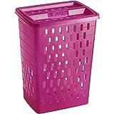 Rotho Wäschesammler Sunshine 40l in pink, Plastik, 45 x 35 x 25 cm