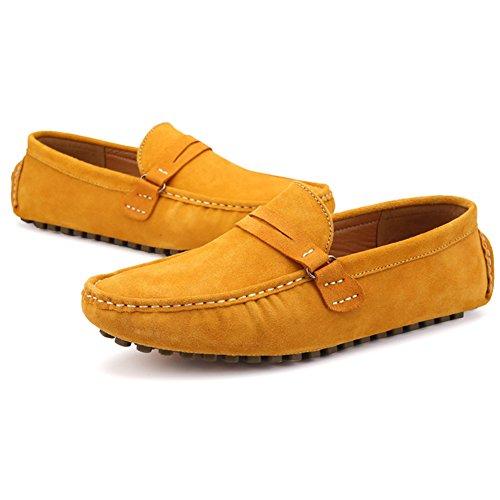 Herren Halbschuhe Schuhe Mokassin Bootsschuhe Flache Slippers Wildleder Loafers Fahren Halbschuhe Stil3-Gelb