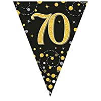 Hi Fashionz Black Gold Sparkling Fizz Birthday Party Holographic Bunting 11 Flags 3.9m 70th Ages
