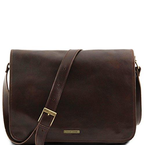 Tuscany Leather Messenger double - Tasche mit Laptopfach aus Leder Braun Lederaktentaschen Dunkelbraun
