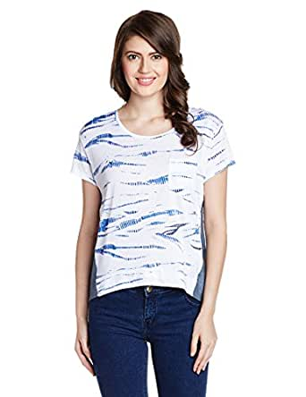 Lee Women's Printed T-Shirt (LETS8608_White_Small)
