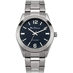 Ben Sherman Men's Quartz Watch with Blue Dial Analogue Display and Silver Stainless Steel Bracelet BS118