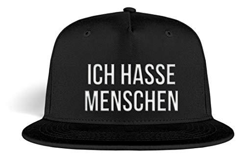 PlimPlom Ich Hasse Menschen Snapback Kappe Baseball Cap Cooles Design Gestickt Für Damen und Herren - Kappe -Einheitsgröße-Schwarz