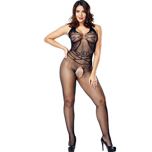 Beikoard Sexy Dessous, Frauen sexy offenen Schritt Strümpfe Gabelung Netz Schiere Körperwäsche Bogenhalter Hängender Hals Net Garn Unterwäsche (Schwarz-C)