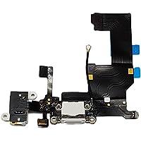 SMARTEX Conector de Carga de Repuesto marca compatible con iPhone 5 5G Blanco – Dock de repeusto con Cable Flex, Altavoz, Antena, Micrófono y Conexión Botón de inicio.
