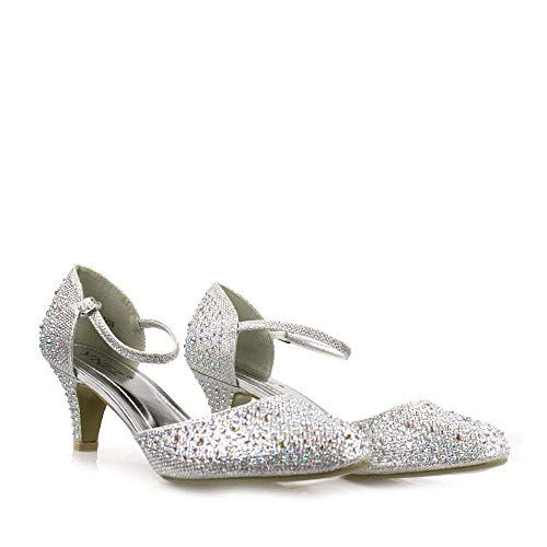 MISSDIVA Miss Diva, Damen Durchgängies Plateau Sandalen mit Keilabsatz, Silber - Silber - Größe: 42