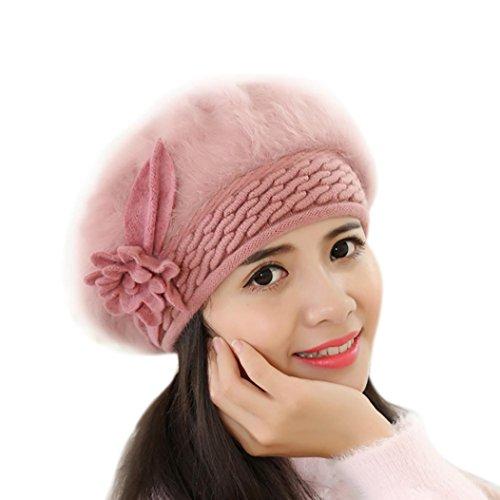 Tefamore Sombrero de las mujeres Invierno de caliente Gorro de Suave de ganchillo (Tamaño: 60cm-64cm / 23.6-25.1 ', Rosa caliente)