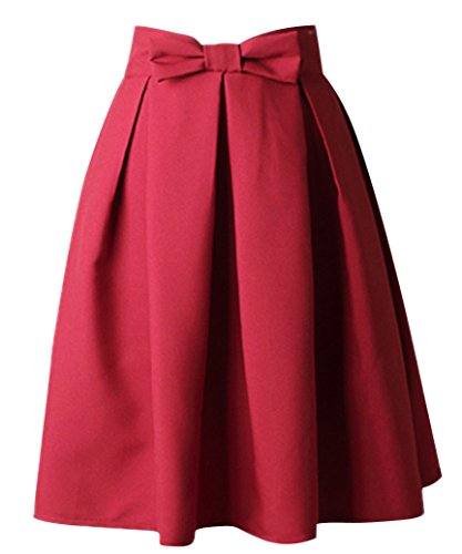 Uideazone Womens Retro Party Rock Hohe Taille gefaltet FlaRot Midi Rock Rot, Asian L = EU 38