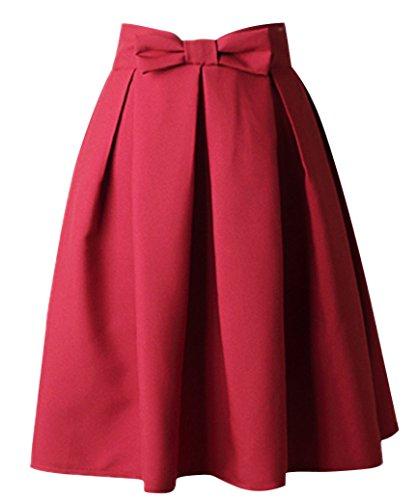 Uideazone Juniors Mini Midi Rock kurze Frauen gefaltet FlaRot A Line Rock Kleid,Asian XXL = EU 42 (Seitlich Reißverschluss Mini Rock Mit)