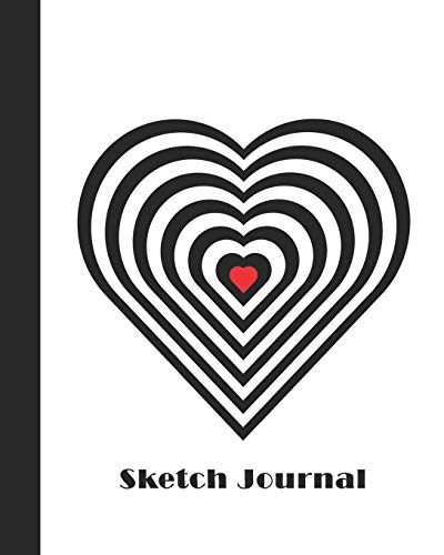 Sketch Journal: Geometric Design (Heart - Black, White and Red) 8x10 - Pages are lightly lined with EXTRA WIDE RIGHT MARGINS for sketching, drawing, and writing